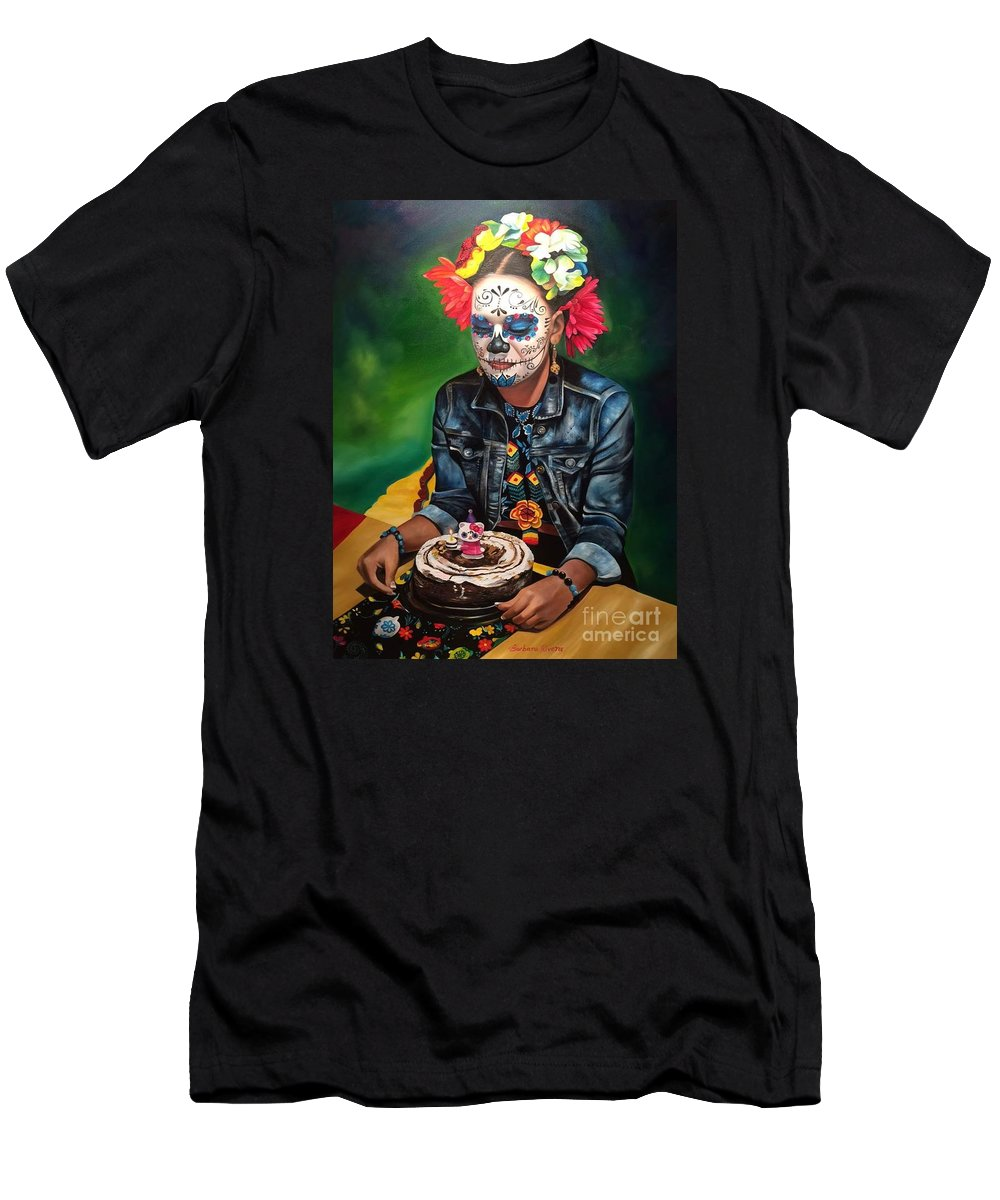 #‎art‬ ‪#‎diadelosmuertos‬ ‪#‎arte‬ ‪#‎chicano‬ ‪#‎dayofthedead‬ ‪#‎sugarskull‬ ‪#‎oilpainting‬ Men's T-Shirt (Athletic Fit) featuring the painting Vanessa's Birthday by Barbara Rivera