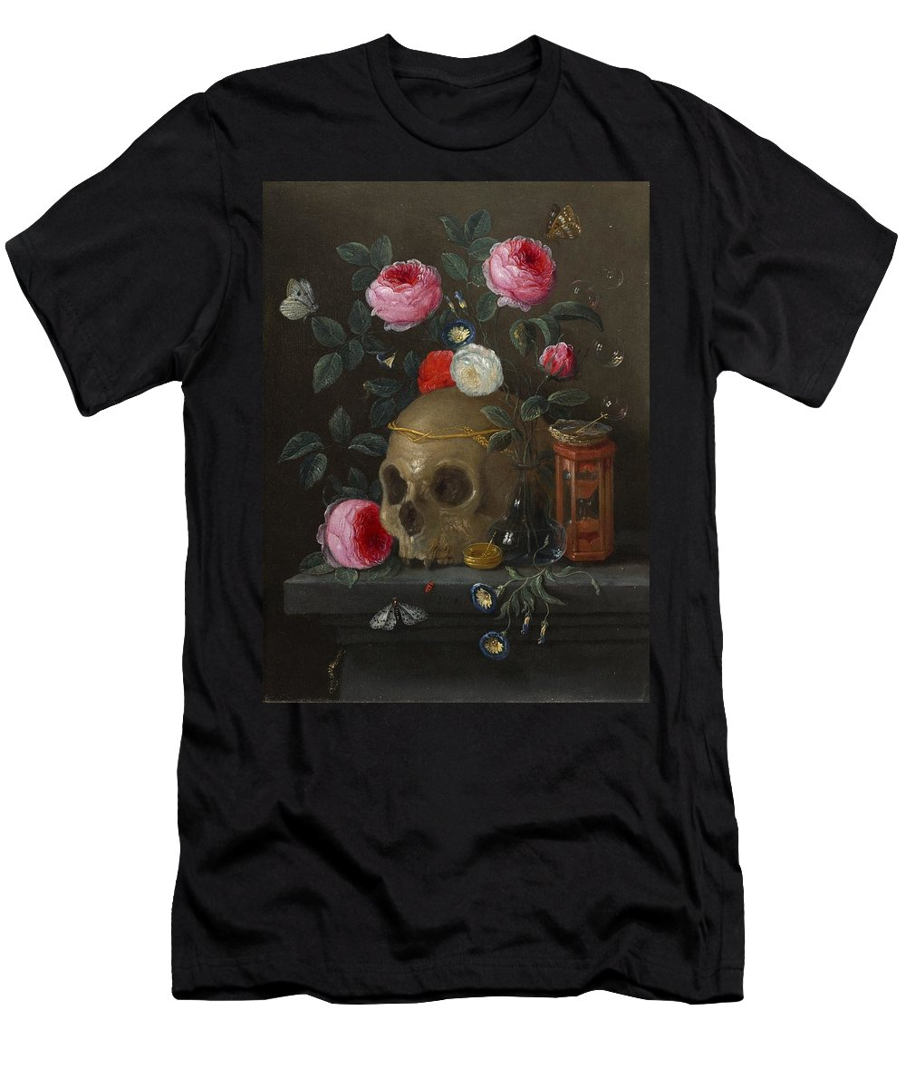Jan Van Kessel De Oude - Vanitasstilleven Men's T-Shirt (Athletic Fit) featuring the painting Vanitasstilleven by MotionAge Designs