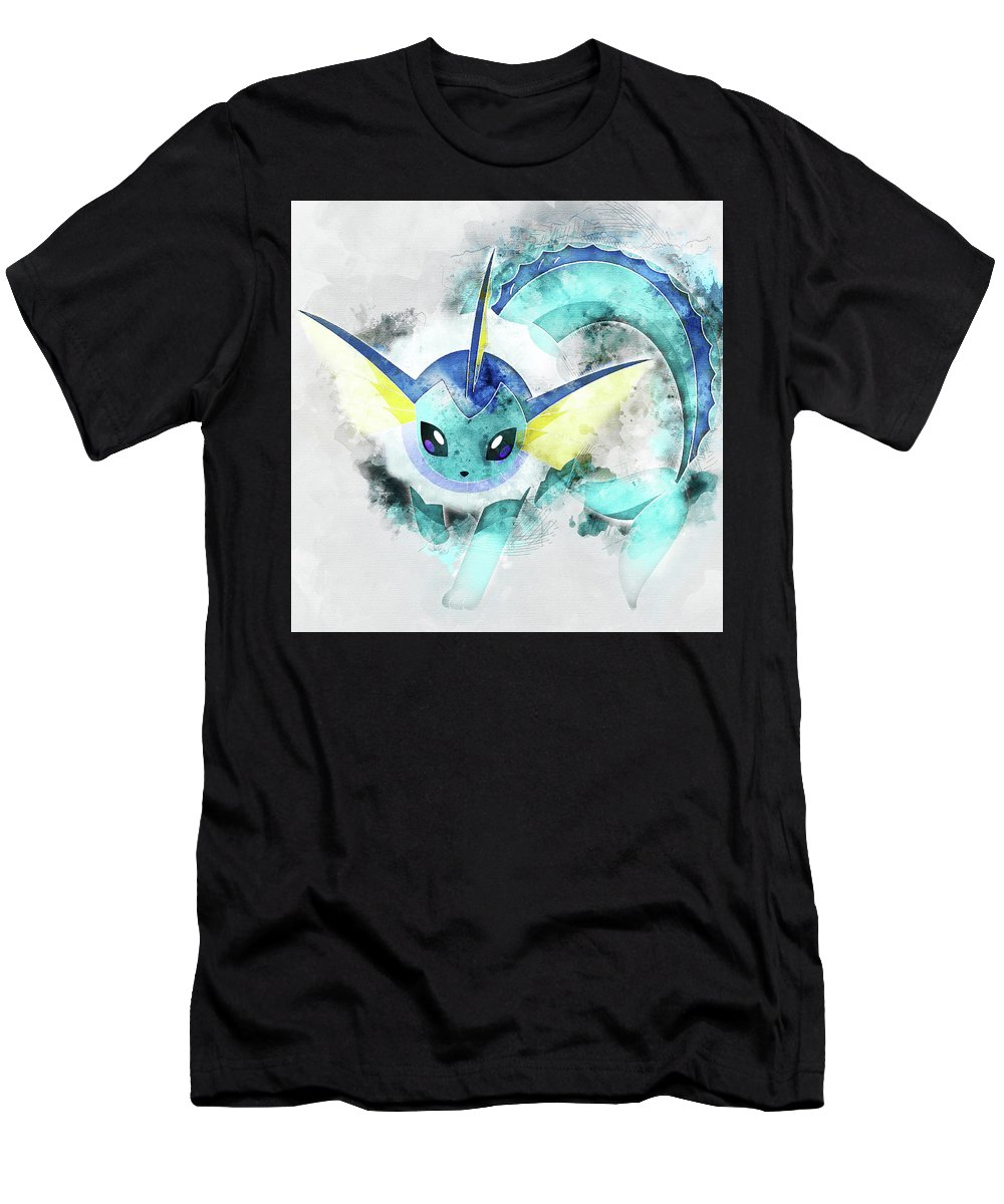 1ef7285c Pokemon Men's T-Shirt (Athletic Fit) featuring the painting Pokemon  Vaporeon Abstract Portrait