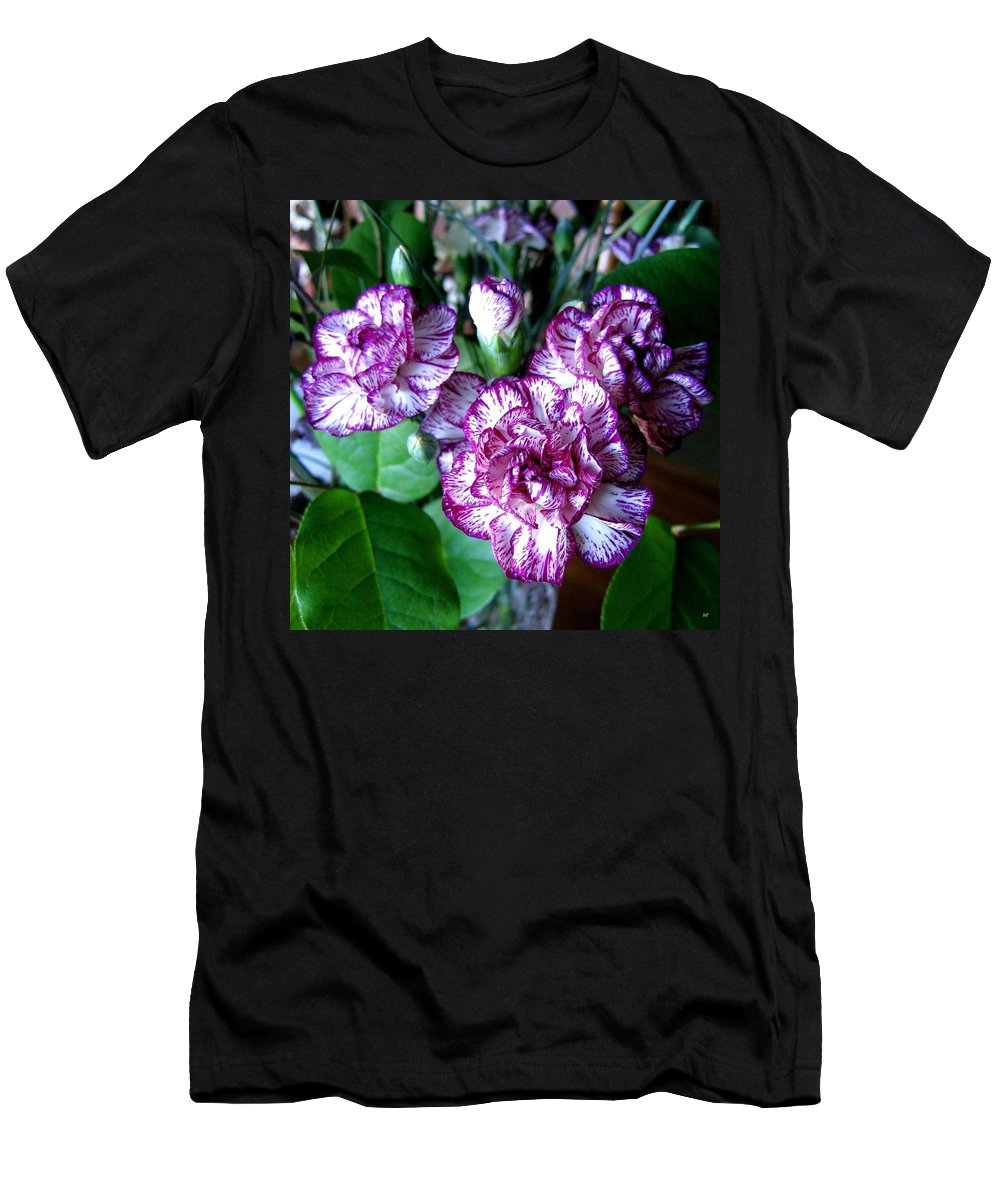 Carnations Men's T-Shirt (Athletic Fit) featuring the photograph Variegated Carnations by Will Borden