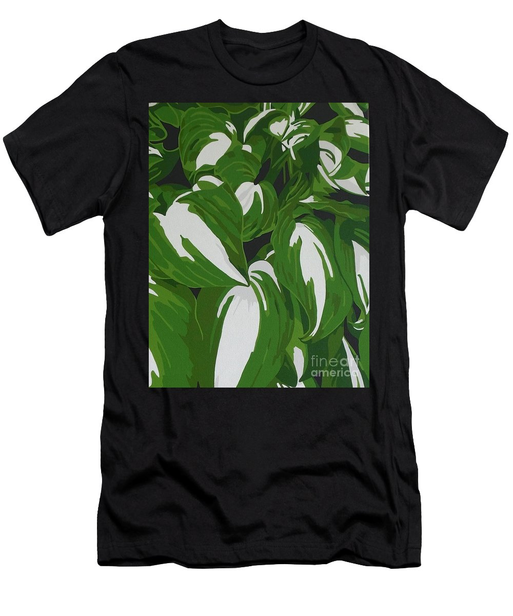 Acrylic Men's T-Shirt (Athletic Fit) featuring the painting Variegated Hostas by Susan Porter