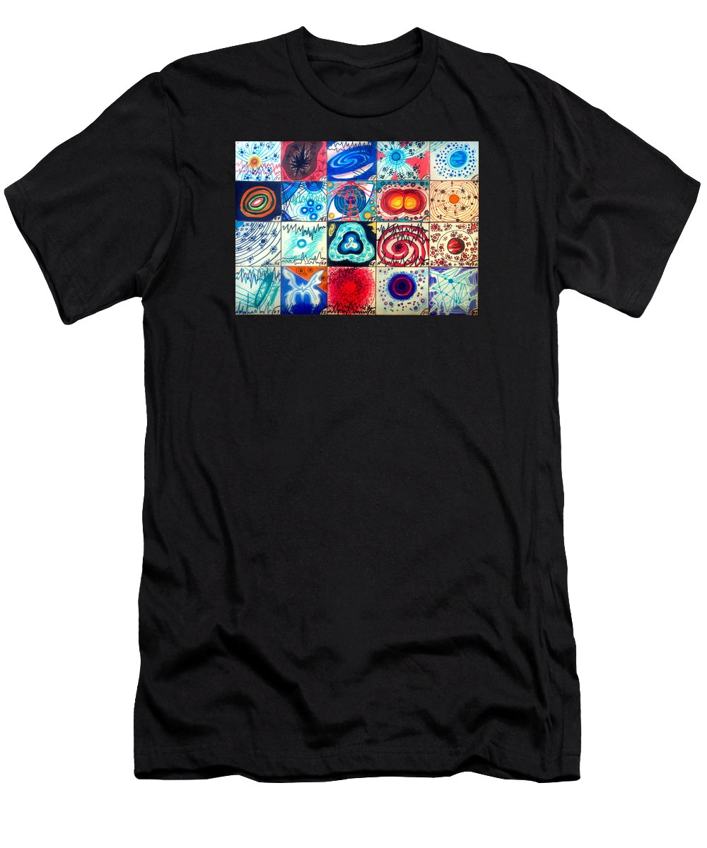Space Men's T-Shirt (Athletic Fit) featuring the drawing Variety Of Space Galaxies Stars Anomalies. Part 3 by Sofia Metal Queen
