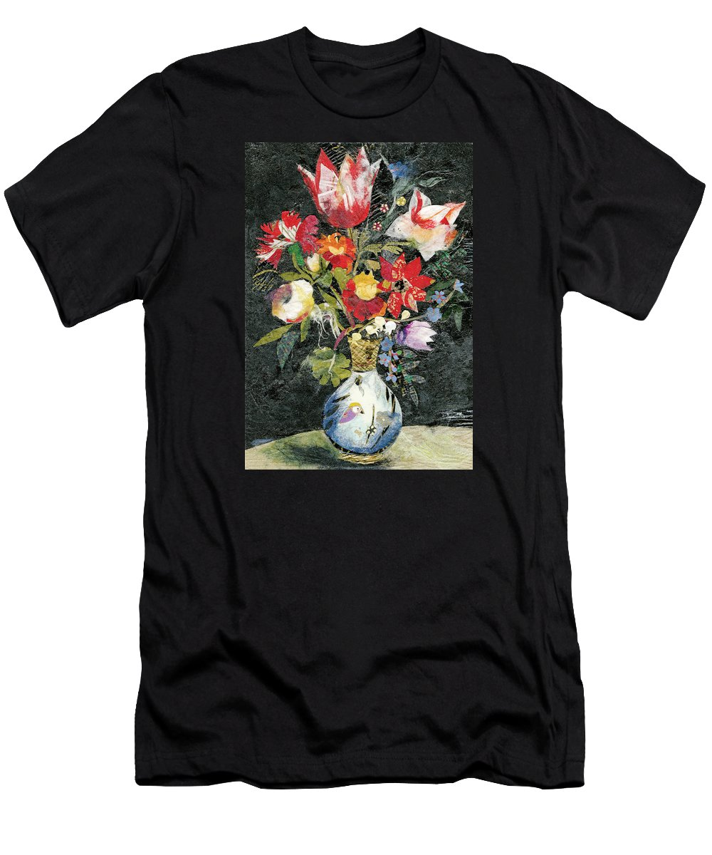 Limited Edition Prints T-Shirt featuring the painting Vase with a bird by Nira Schwartz