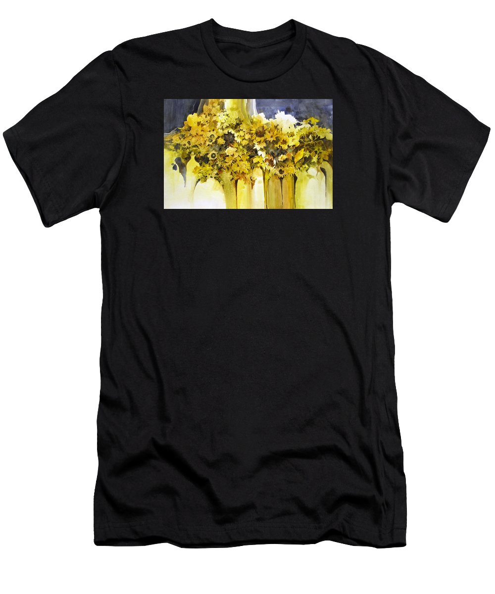 Yellow Flowers;sunflowers;vases;floral;contemporary Floral; Men's T-Shirt (Athletic Fit) featuring the painting Vases Full Of Blooms  by Lois Mountz