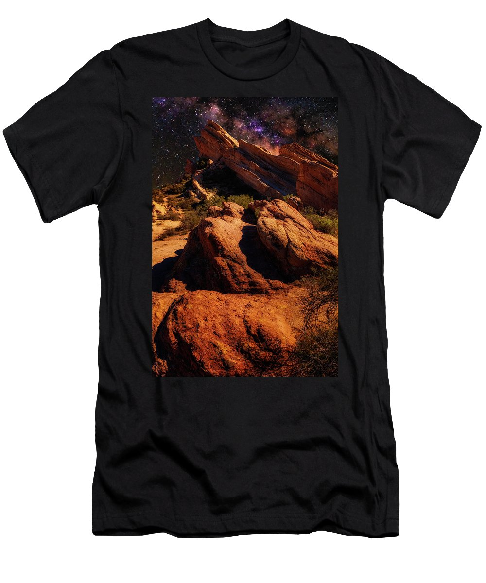 Vasquez Rocks Men's T-Shirt (Athletic Fit) featuring the photograph Vasquez Rocks And Stars by Mike Penney