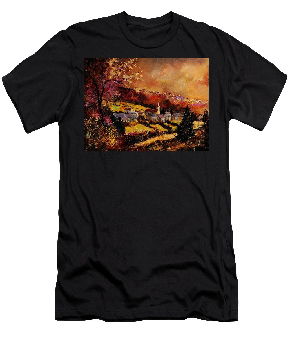 River Men's T-Shirt (Athletic Fit) featuring the painting Vencimont Village Ardennes by Pol Ledent