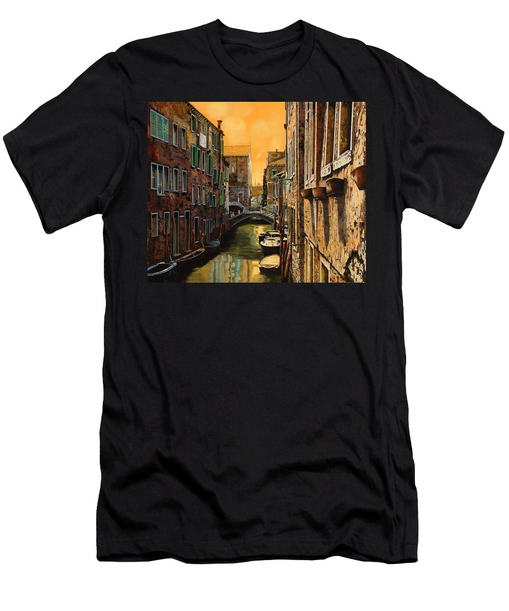 Venice Men's T-Shirt (Athletic Fit) featuring the painting Venezia Al Tramonto by Guido Borelli