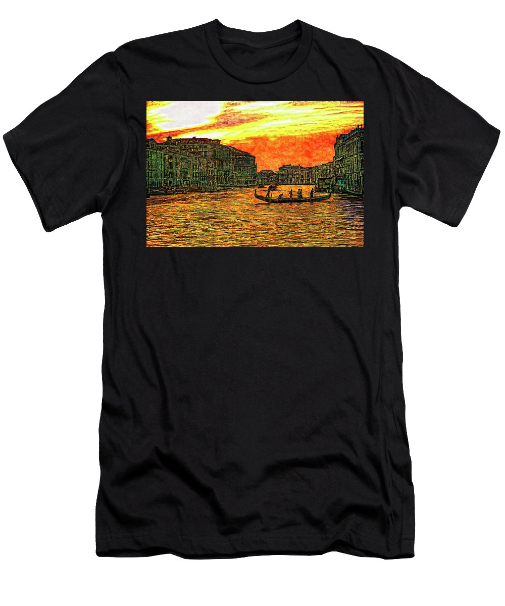 Venice Men's T-Shirt (Athletic Fit) featuring the photograph Venice Eventide by Steve Harrington