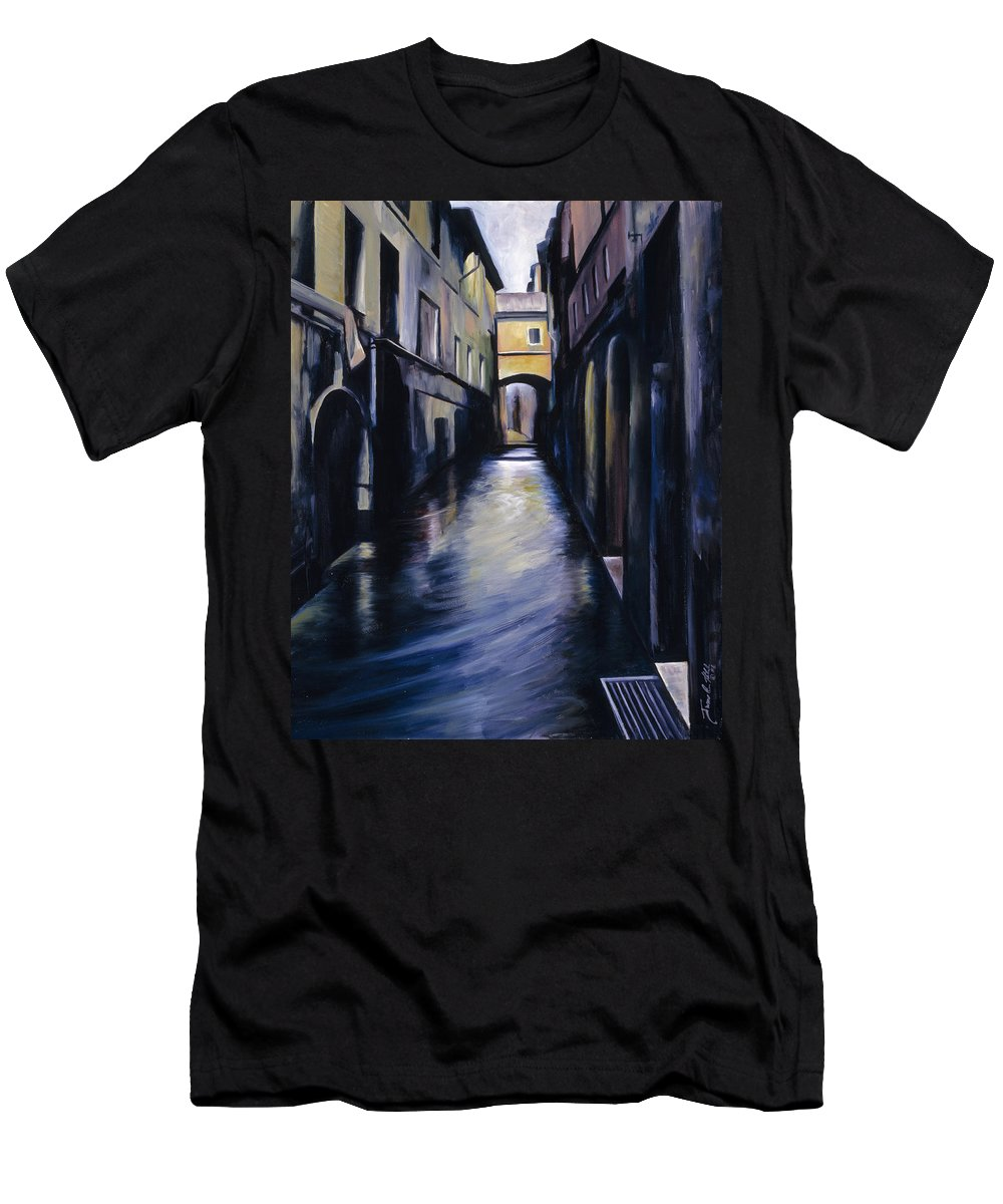 Street; Canal; Venice ; Desert; Abandoned; Delapidated; Lost; Highway; Route 66; Road; Vacancy; Run-down; Building; Old Signage; Nastalgia; Vintage; James Christopher Hill; Jameshillgallery.com; Foliage; Sky; Realism; Oils Men's T-Shirt (Athletic Fit) featuring the painting Venice by James Christopher Hill