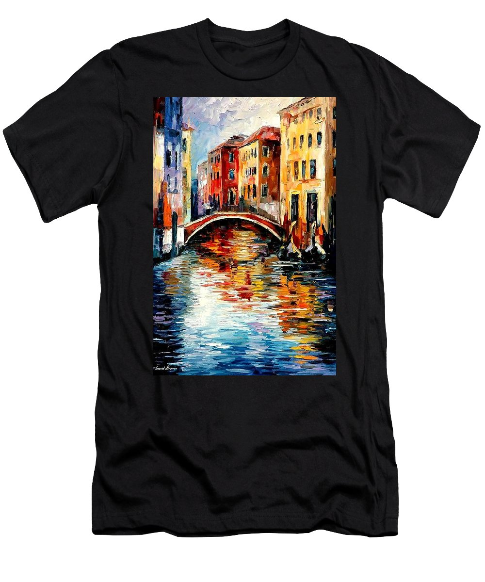 Landscape Men's T-Shirt (Athletic Fit) featuring the painting Venice by Leonid Afremov