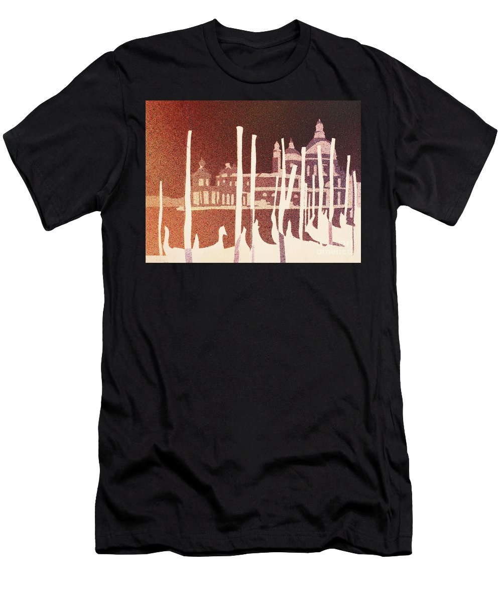 Art Venice Men's T-Shirt (Athletic Fit) featuring the painting Venice Reversed by Ryan Fox