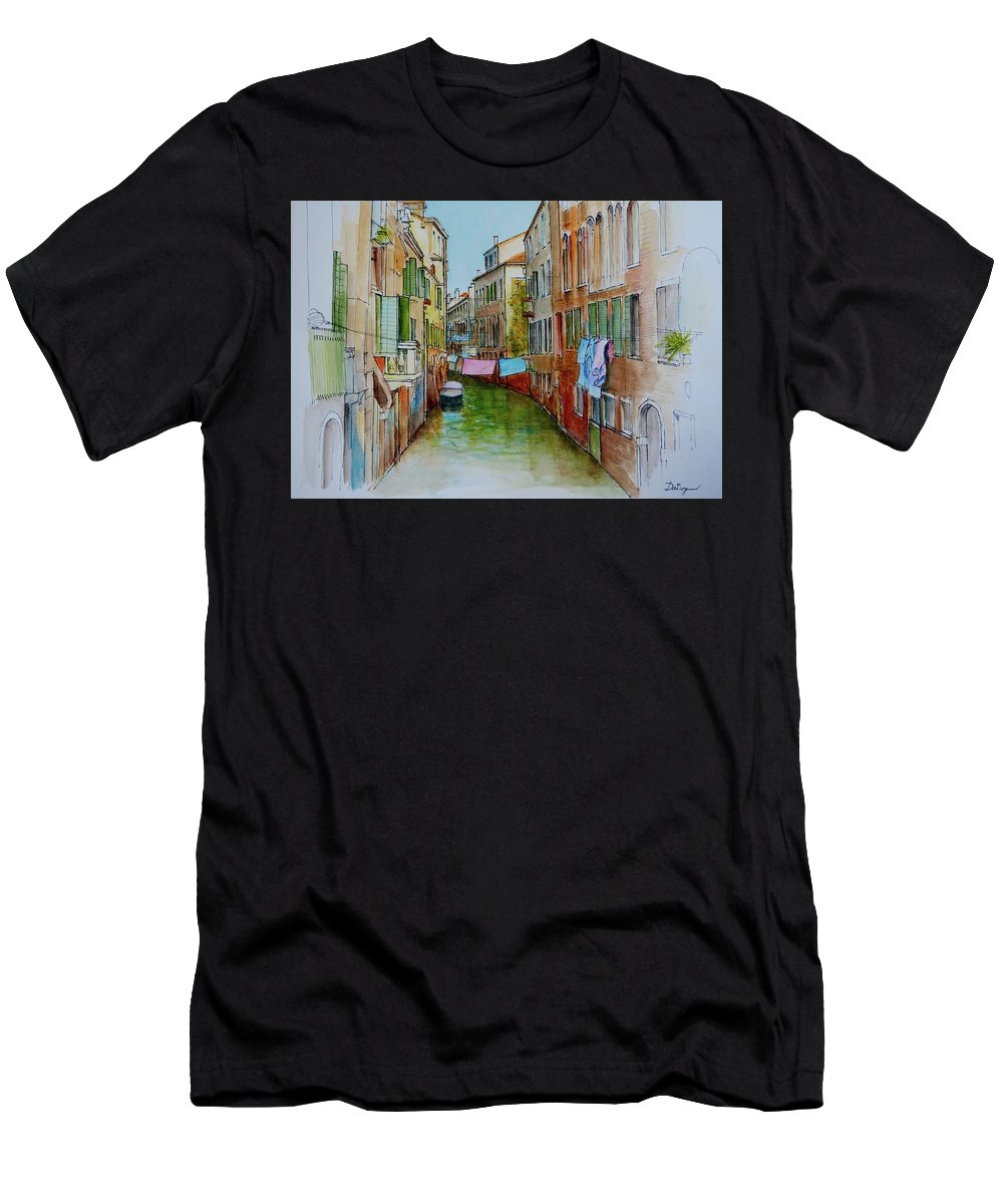 Venice Men's T-Shirt (Athletic Fit) featuring the painting Venice Washing Day by Dai Wynn