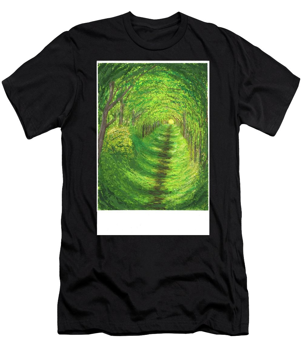 Landscapes Men's T-Shirt (Athletic Fit) featuring the painting Vertical Tree Tunnel by Stephen Riffe