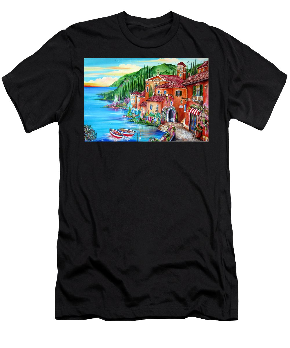 Village Men's T-Shirt (Athletic Fit) featuring the painting Via Positano By The Lake by Roberto Gagliardi