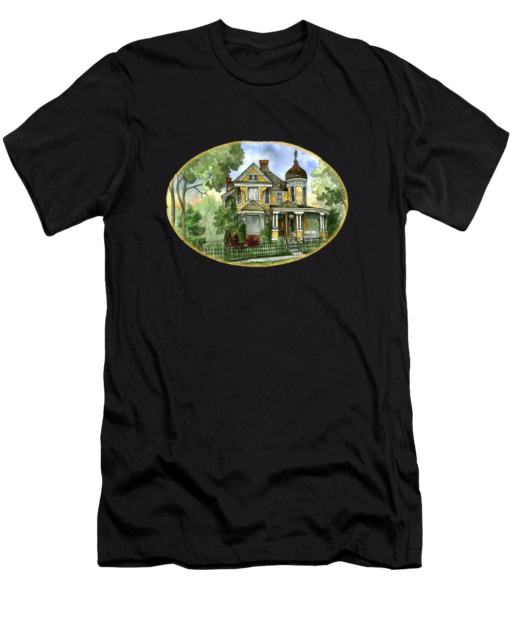 Victorian Men's T-Shirt (Athletic Fit) featuring the painting Victorian In The Avenues by Shelley Wallace Ylst