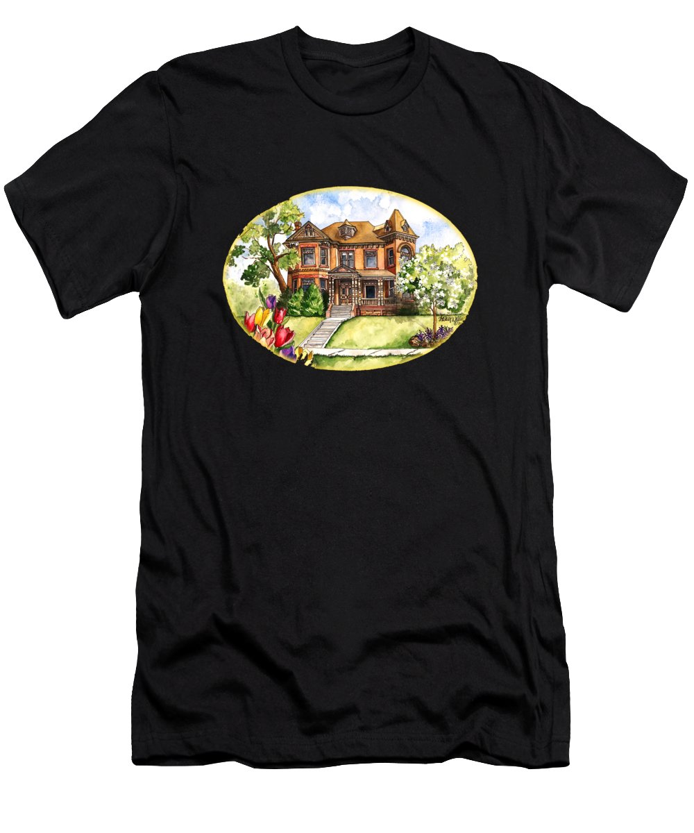 House T-Shirt featuring the painting Victorian Mansion In The Spring by Shelley Wallace Ylst