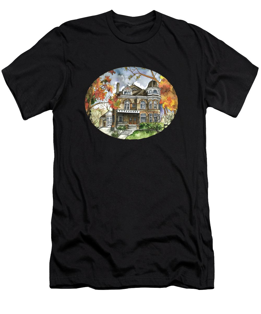 Watercolor Men's T-Shirt (Athletic Fit) featuring the painting Victorian Mansion by Shelley Wallace Ylst