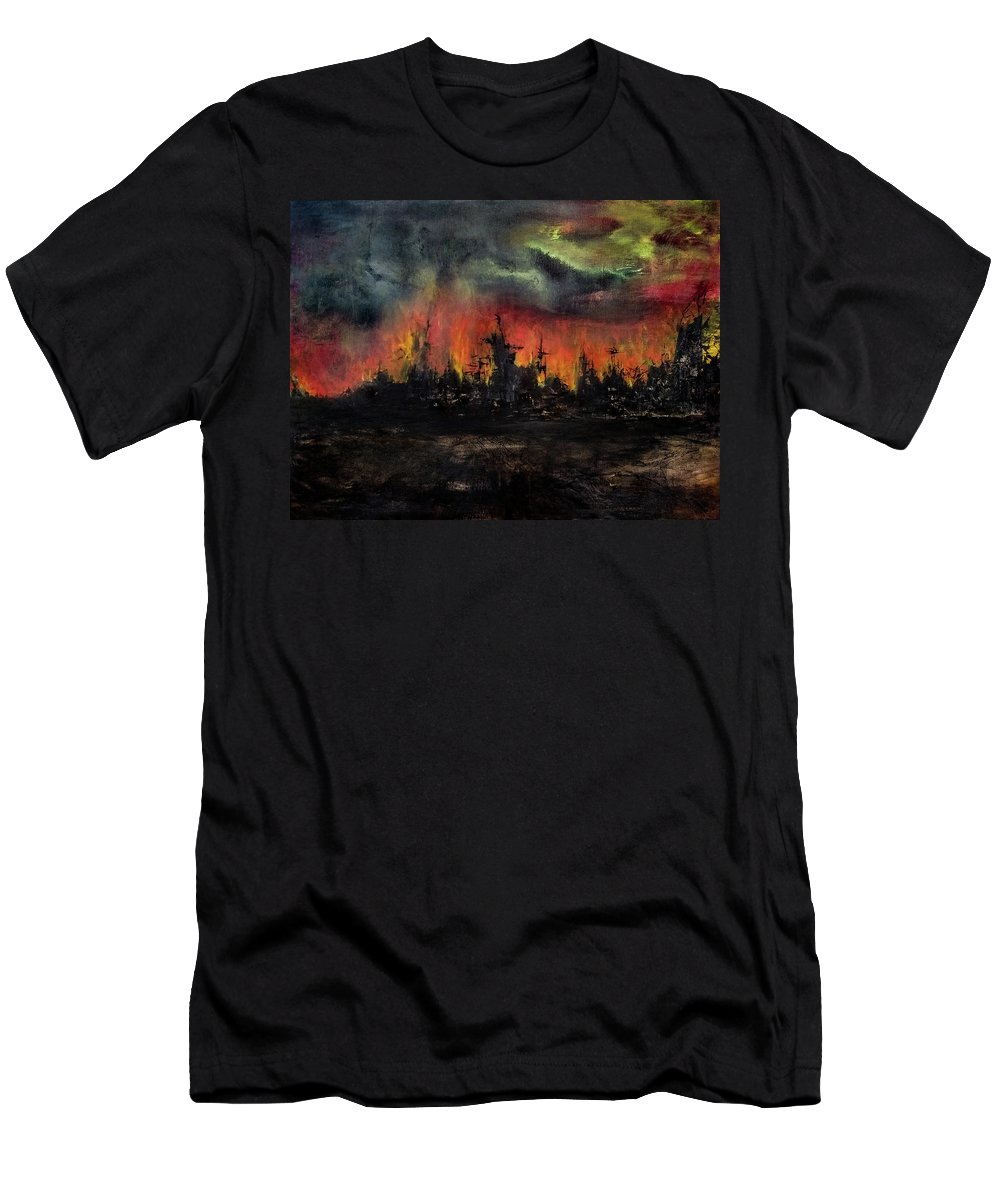 Devastation Men's T-Shirt (Athletic Fit) featuring the painting Victory by Andrew Lehouillier and Patrick Zgarrick