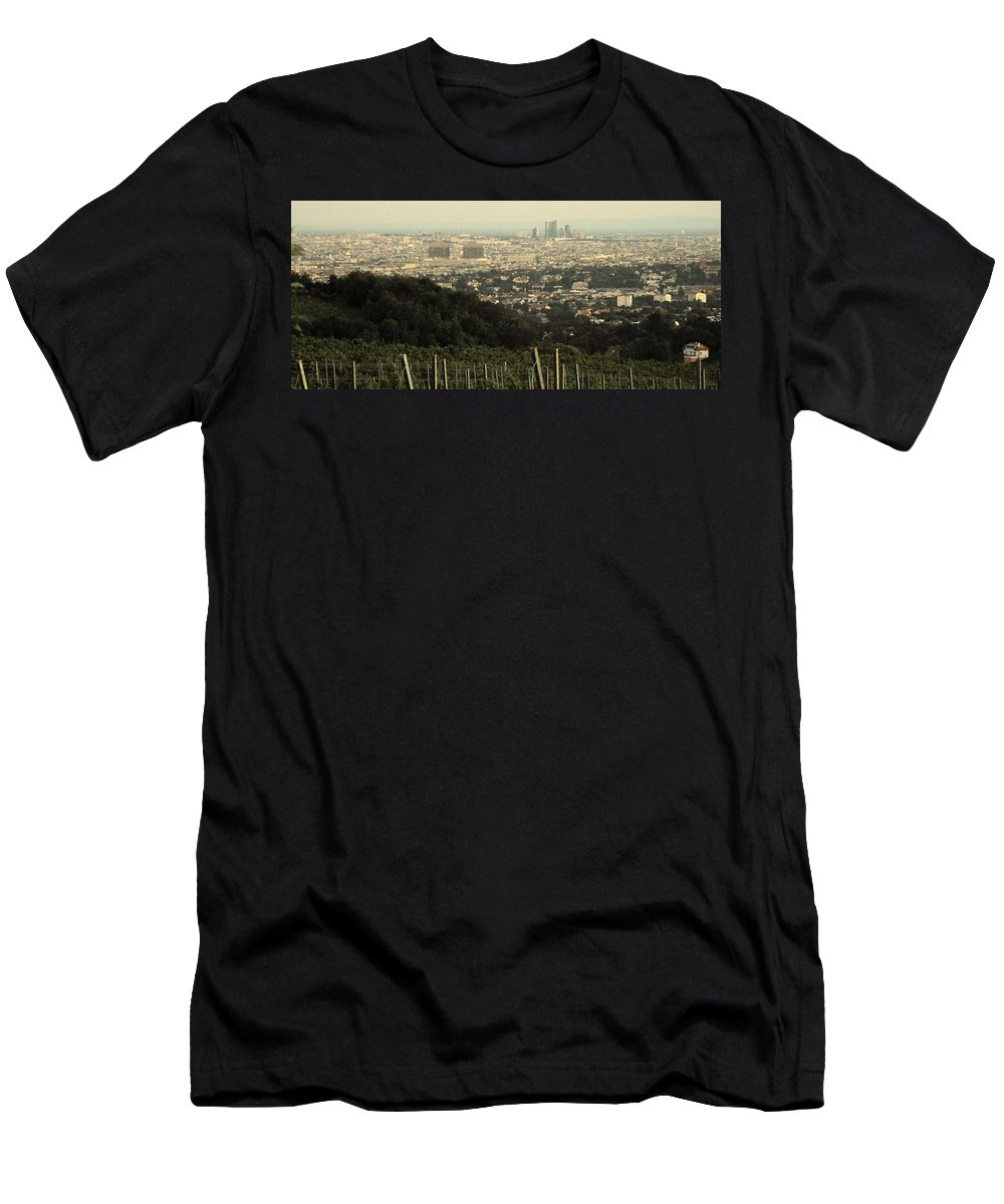 Vineyard Men's T-Shirt (Athletic Fit) featuring the photograph Vienna From The Vineyard by Ian MacDonald