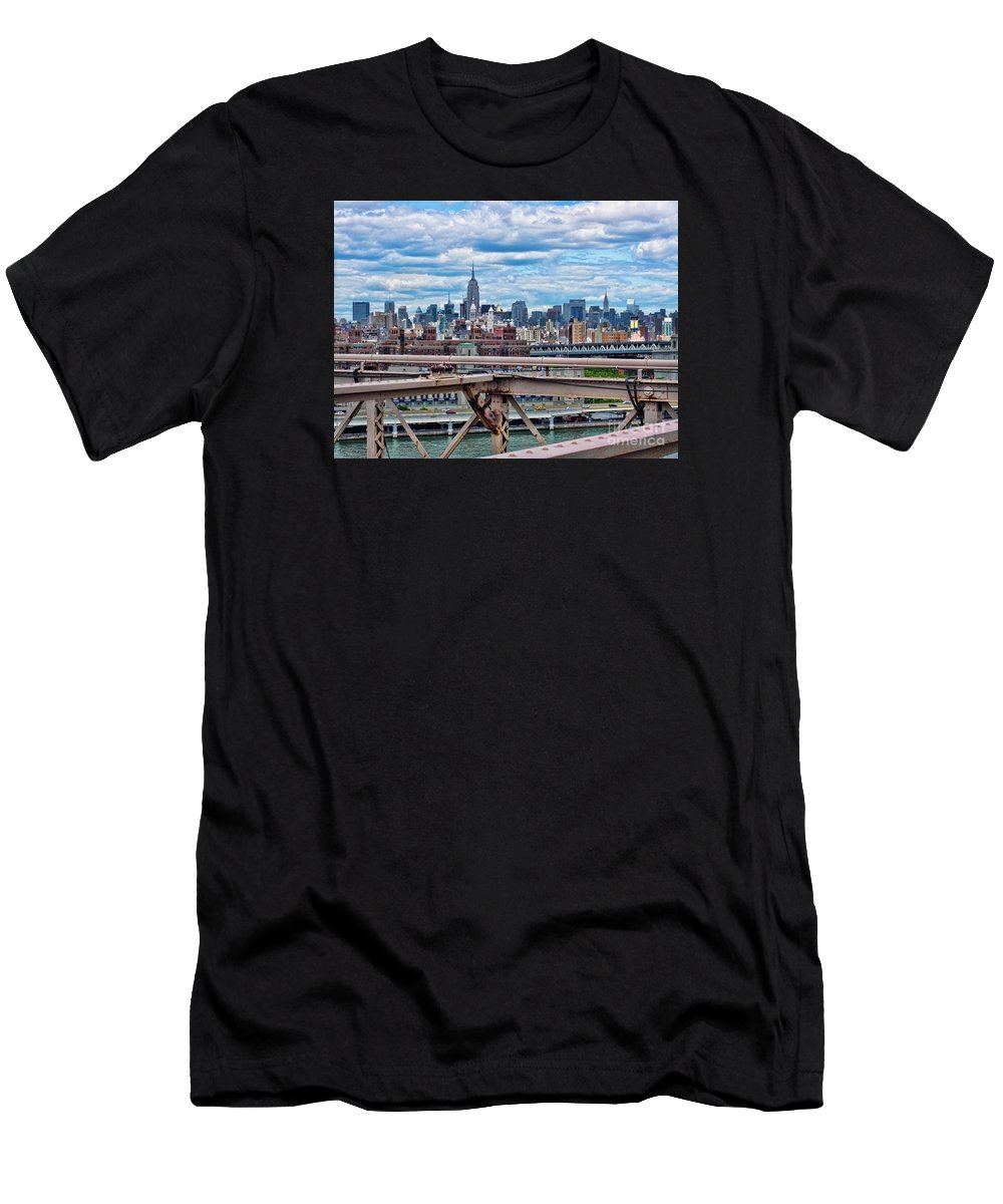 View From Brooklyn Bridge Men's T-Shirt (Athletic Fit) featuring the photograph View From Brooklyn Bridge by Mariola Bitner