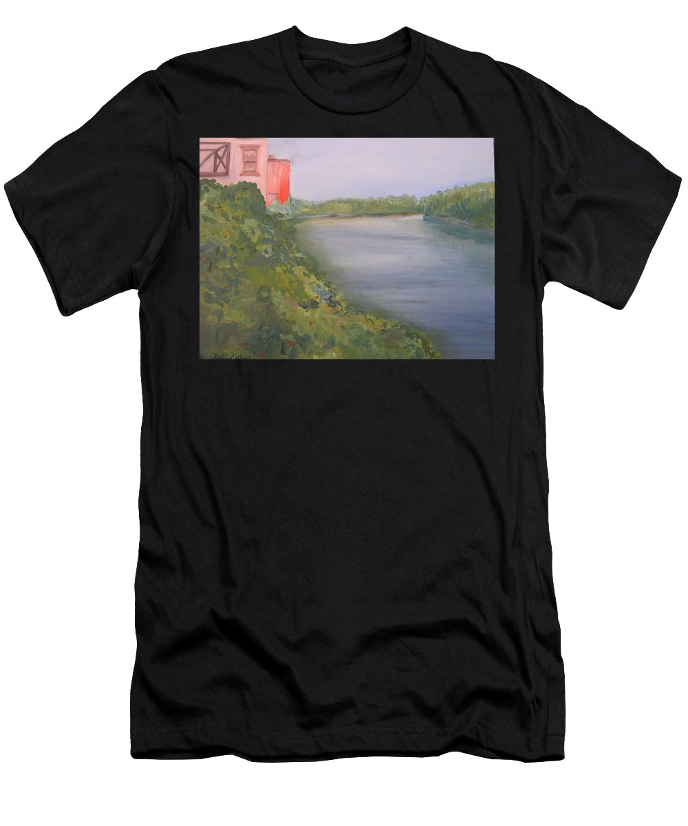 Landscape River Water Nature Men's T-Shirt (Athletic Fit) featuring the painting View From Edmund Pettus Bridge by Patricia Caldwell