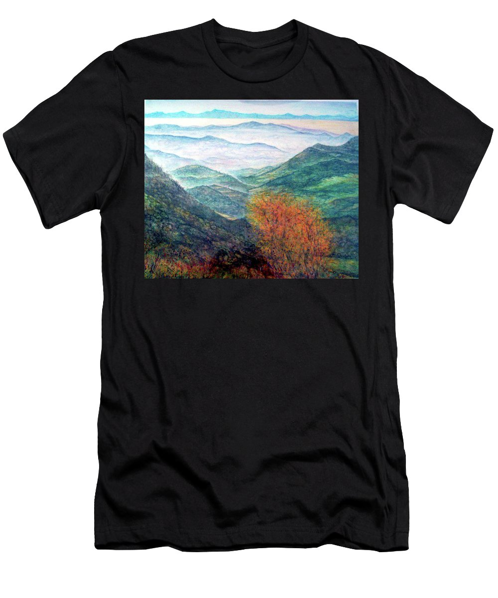 Landscape Men's T-Shirt (Athletic Fit) featuring the painting View From The Autumnal Belchen  by Arkis Krayl