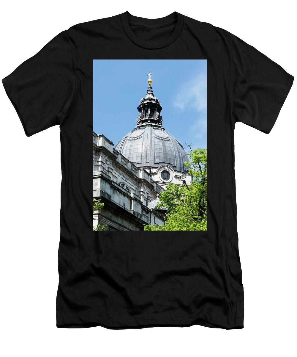 6x4 Men's T-Shirt (Athletic Fit) featuring the photograph View Of Brompton Oratory Dome Kensington London England by Jacek Wojnarowski