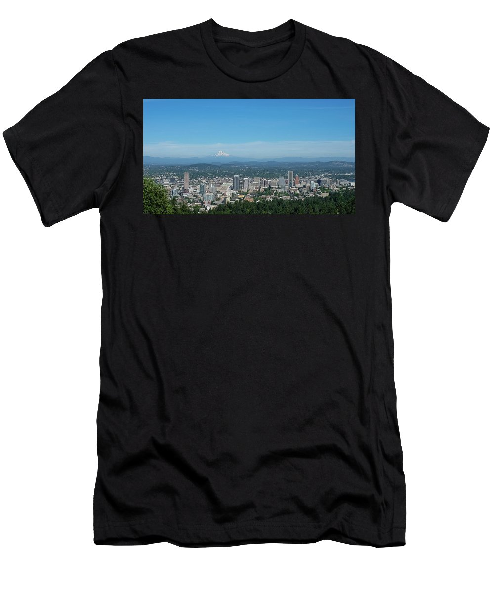Downtown Men's T-Shirt (Athletic Fit) featuring the photograph View Of Downtown Portland Oregon From Pittock Mansion by Robert Bellomy
