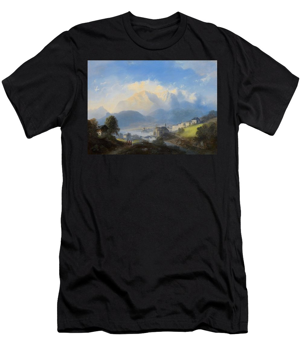 Franz Barbarini (1804-1873) View Of Gmunden On Traunsee Men's T-Shirt (Athletic Fit) featuring the painting View Of Gmunden On Traunsee by MotionAge Designs