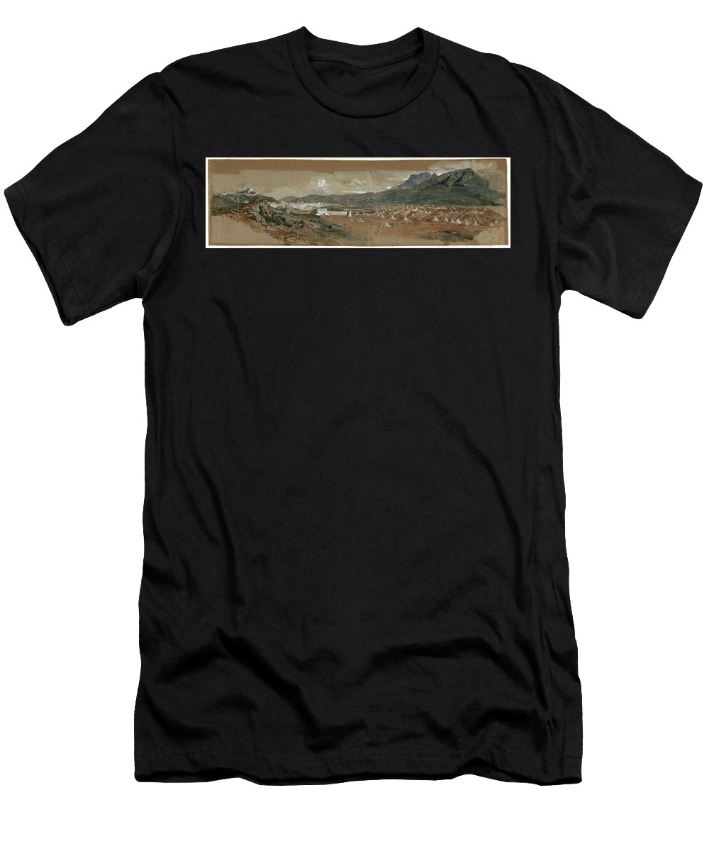 Maria Fortuny Men's T-Shirt (Athletic Fit) featuring the painting View Of Tetouan by MotionAge Designs