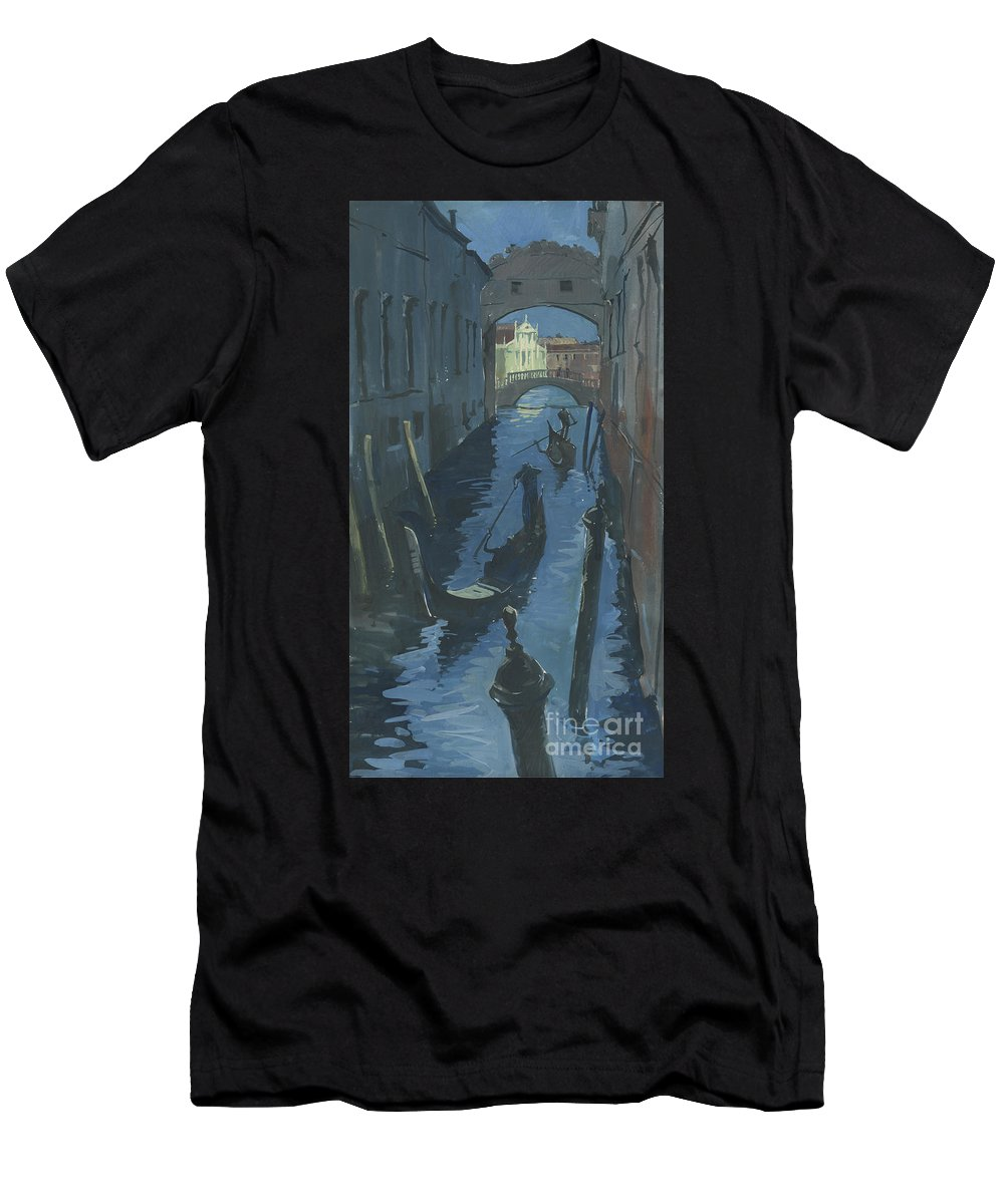 Painting Men's T-Shirt (Athletic Fit) featuring the painting View Of The Bridge Of Sighs At Night. by Sakurov Igor