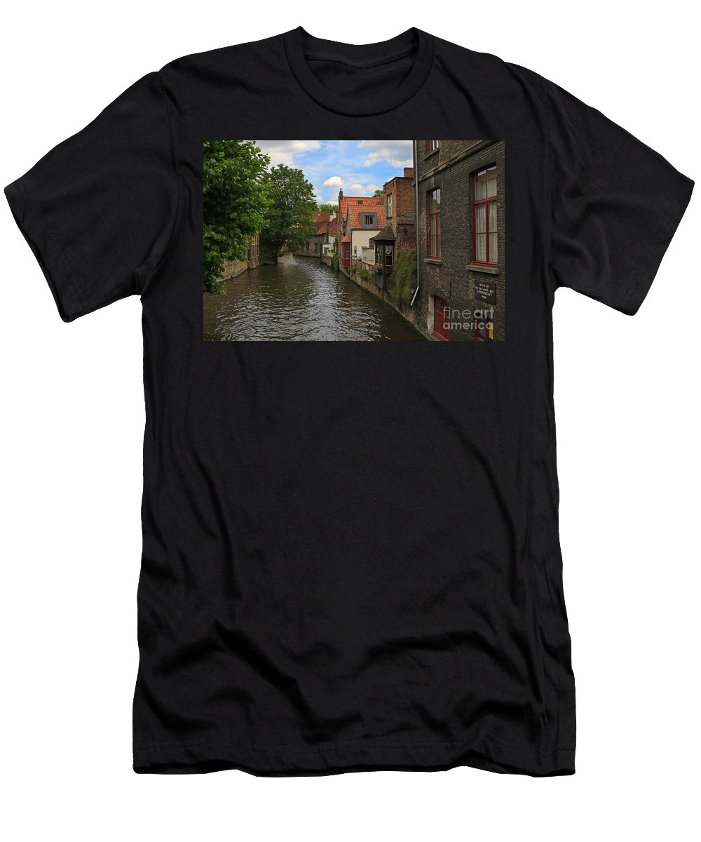 Canal Men's T-Shirt (Athletic Fit) featuring the photograph View Of The Canal From Maria Brug On Katelijnestraat In Bruges by Louise Heusinkveld