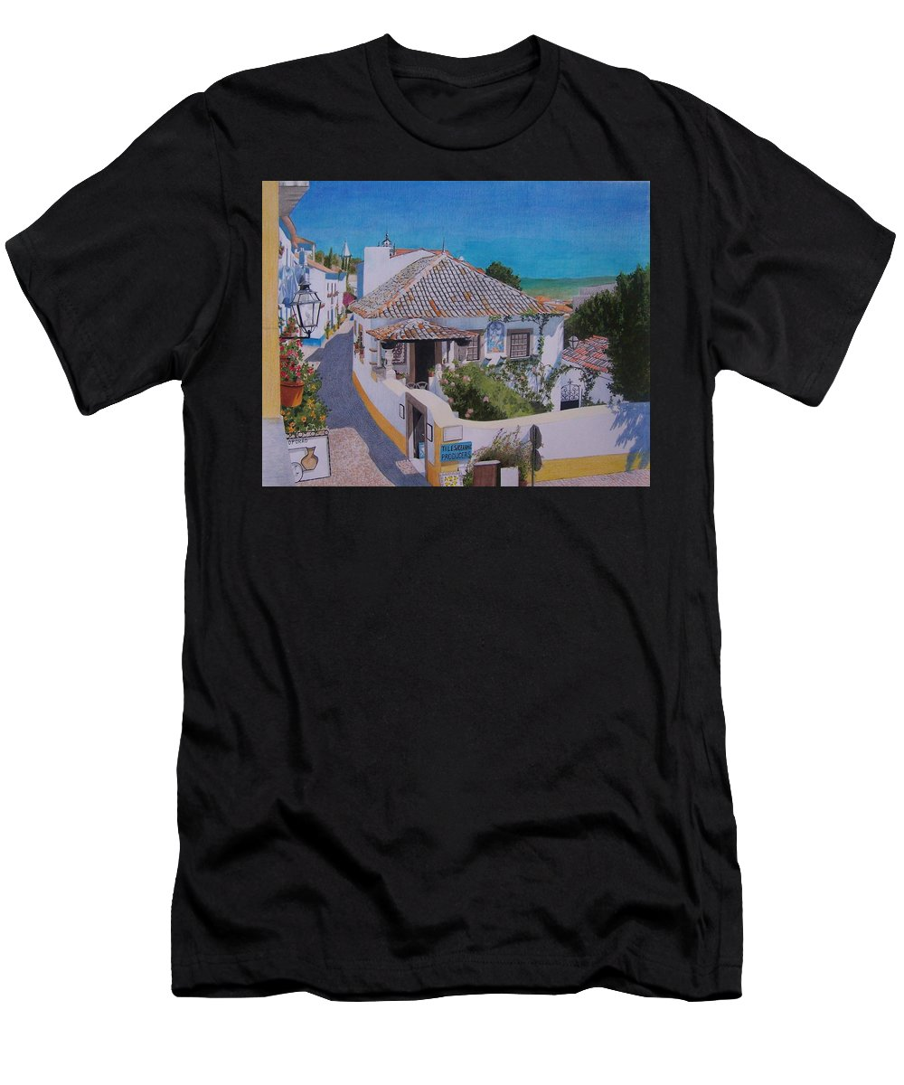 Green Men's T-Shirt (Athletic Fit) featuring the mixed media View On Obidos by Constance Drescher