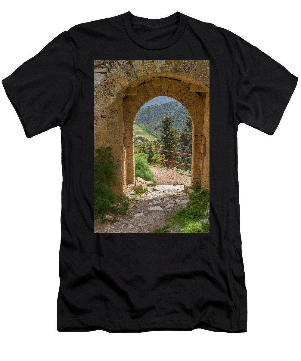 Ayios Ilarion Men's T-Shirt (Athletic Fit) featuring the photograph View Through The Castle Door by Iordanis Pallikaras