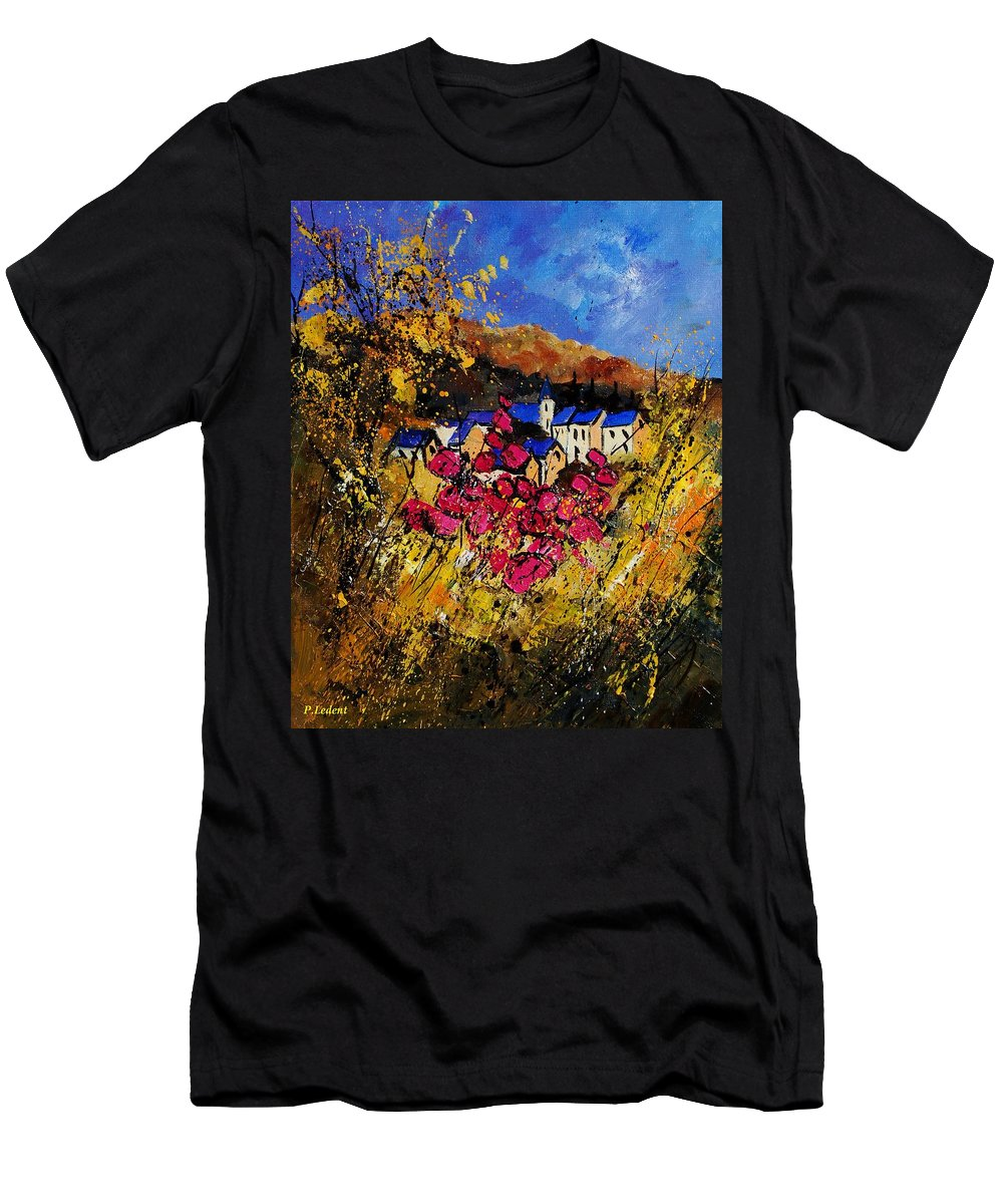 Flowers Men's T-Shirt (Athletic Fit) featuring the painting Village 450808 by Pol Ledent