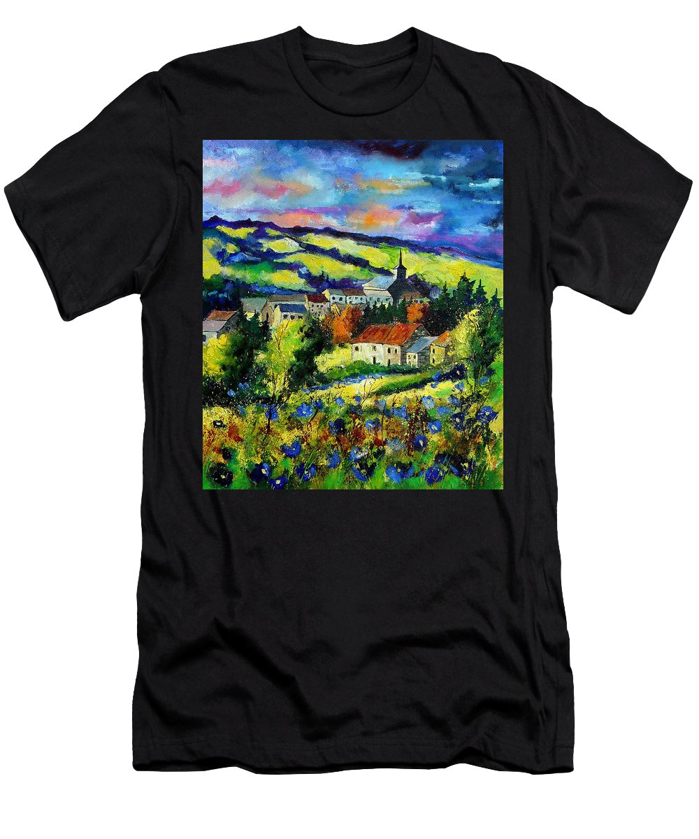 Landscape Men's T-Shirt (Athletic Fit) featuring the painting Village And Blue Poppies by Pol Ledent