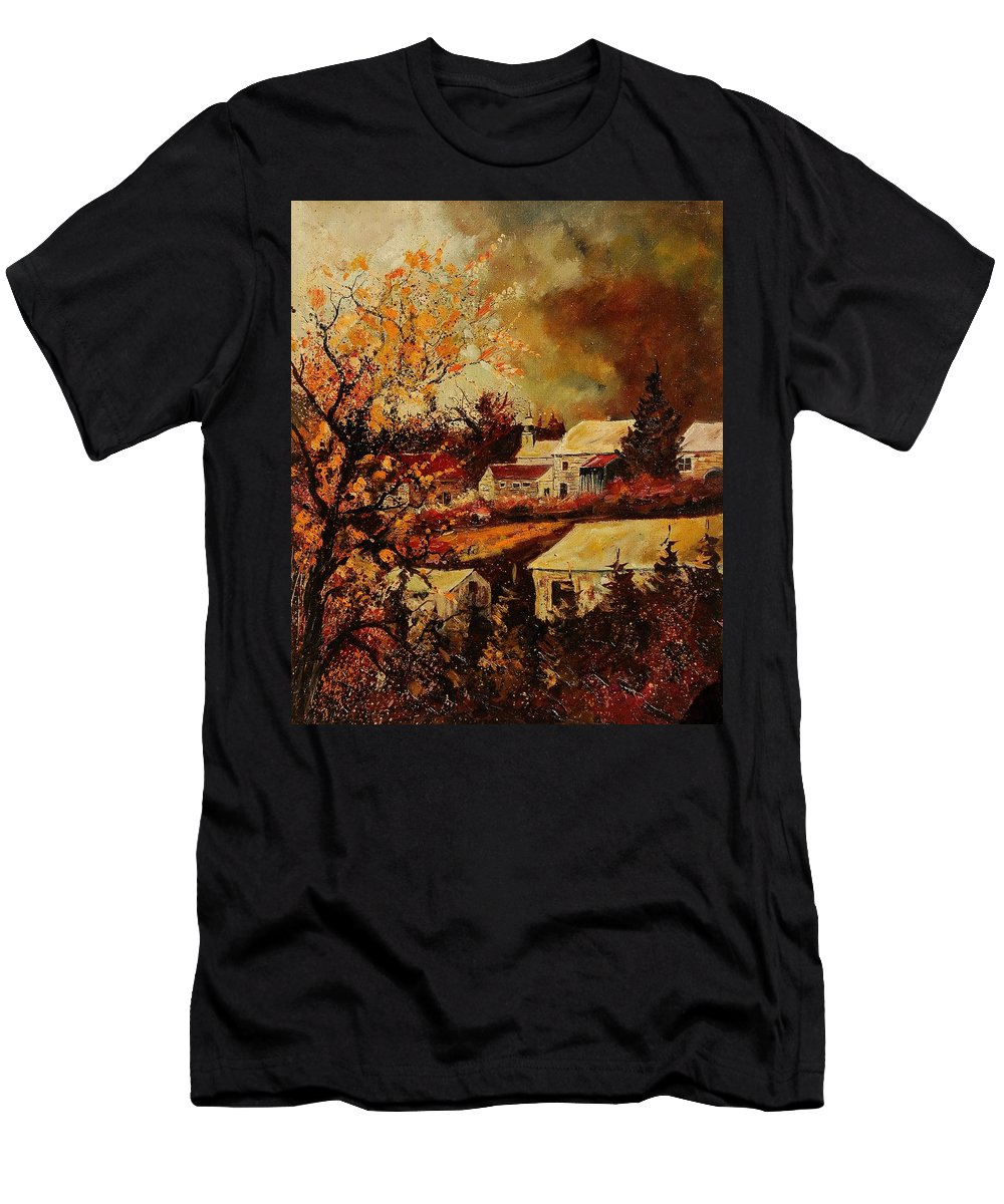 Tree Men's T-Shirt (Athletic Fit) featuring the painting Village Curfoz by Pol Ledent