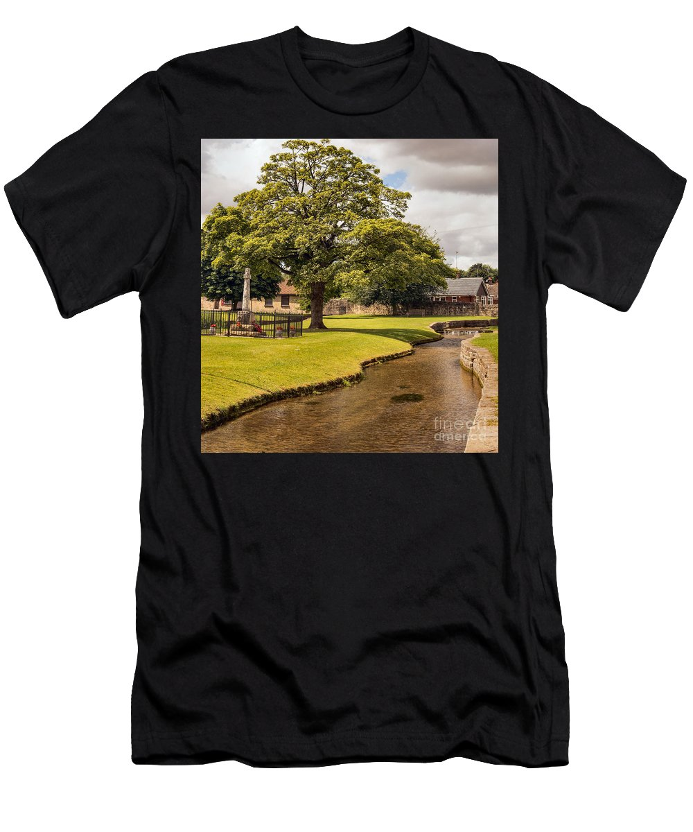 England - Landscape - Village - Nature - Trees - Stream - Memorial Men's T-Shirt (Athletic Fit) featuring the photograph Village Green by Chris Horsnell