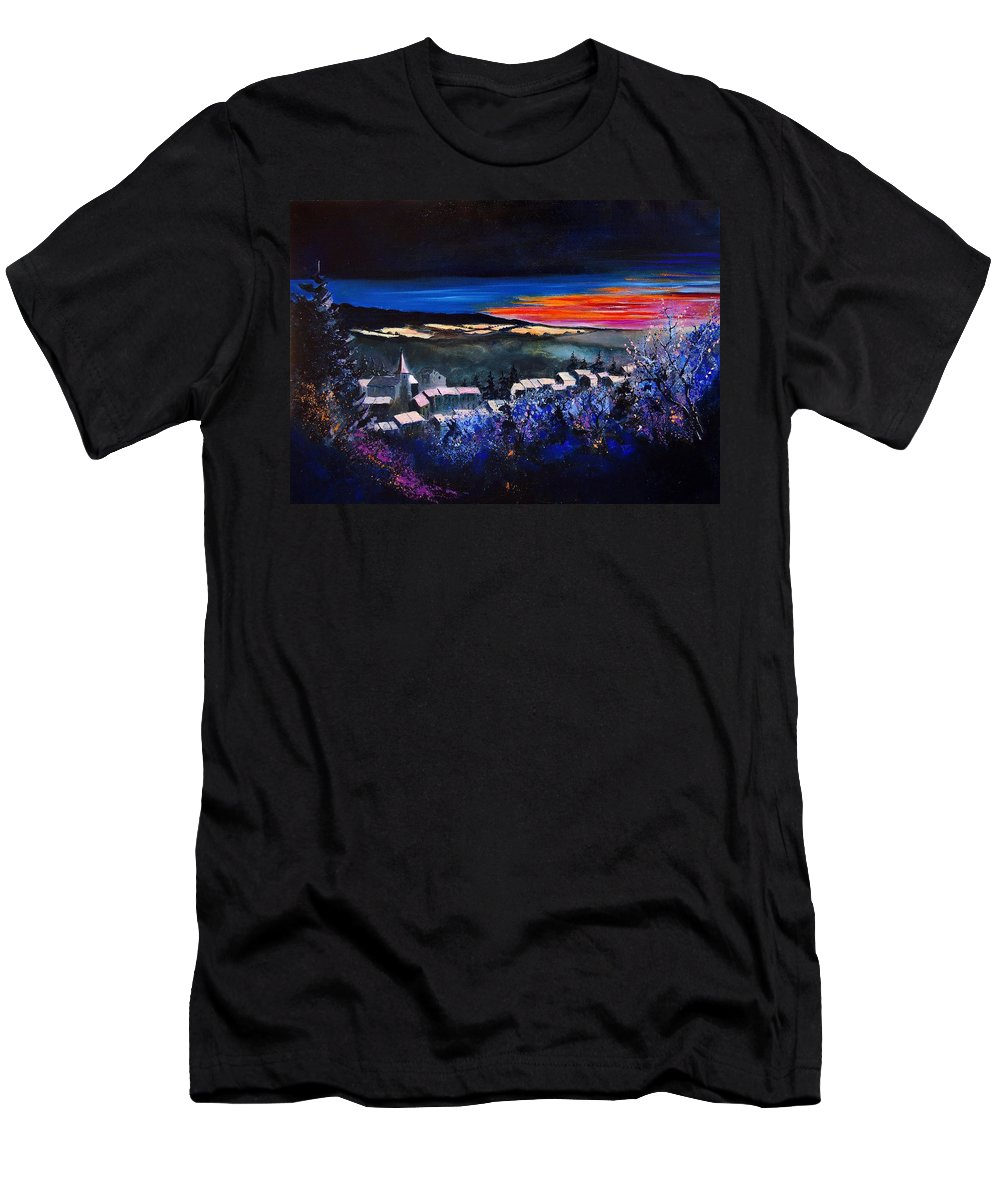 Landscape Men's T-Shirt (Athletic Fit) featuring the painting Village In A Winter Morninglight by Pol Ledent