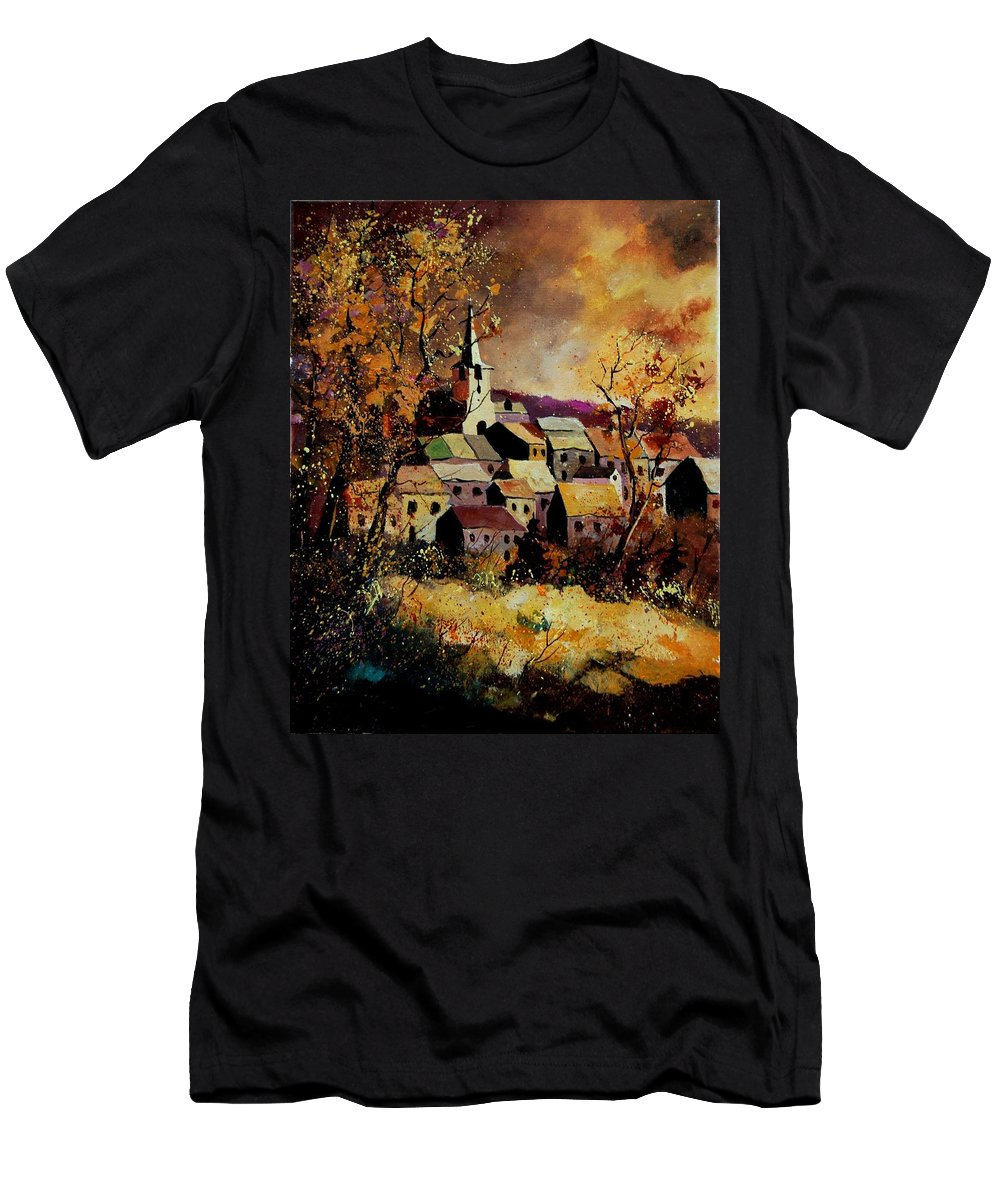 River T-Shirt featuring the painting Village In Fall by Pol Ledent