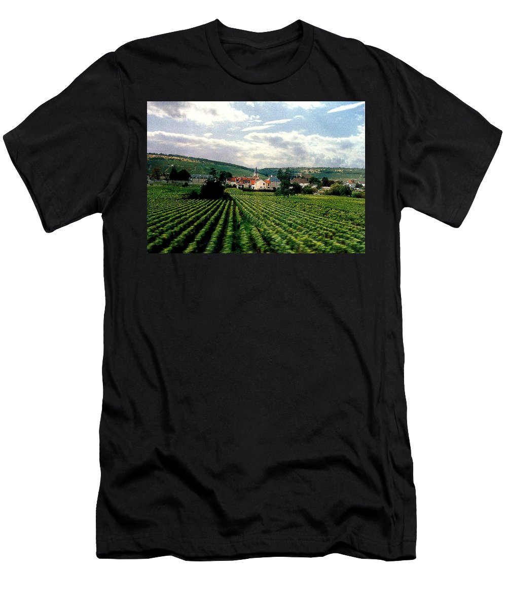 Vineyards Men's T-Shirt (Athletic Fit) featuring the photograph Village In The Vineyards Of France by Nancy Mueller