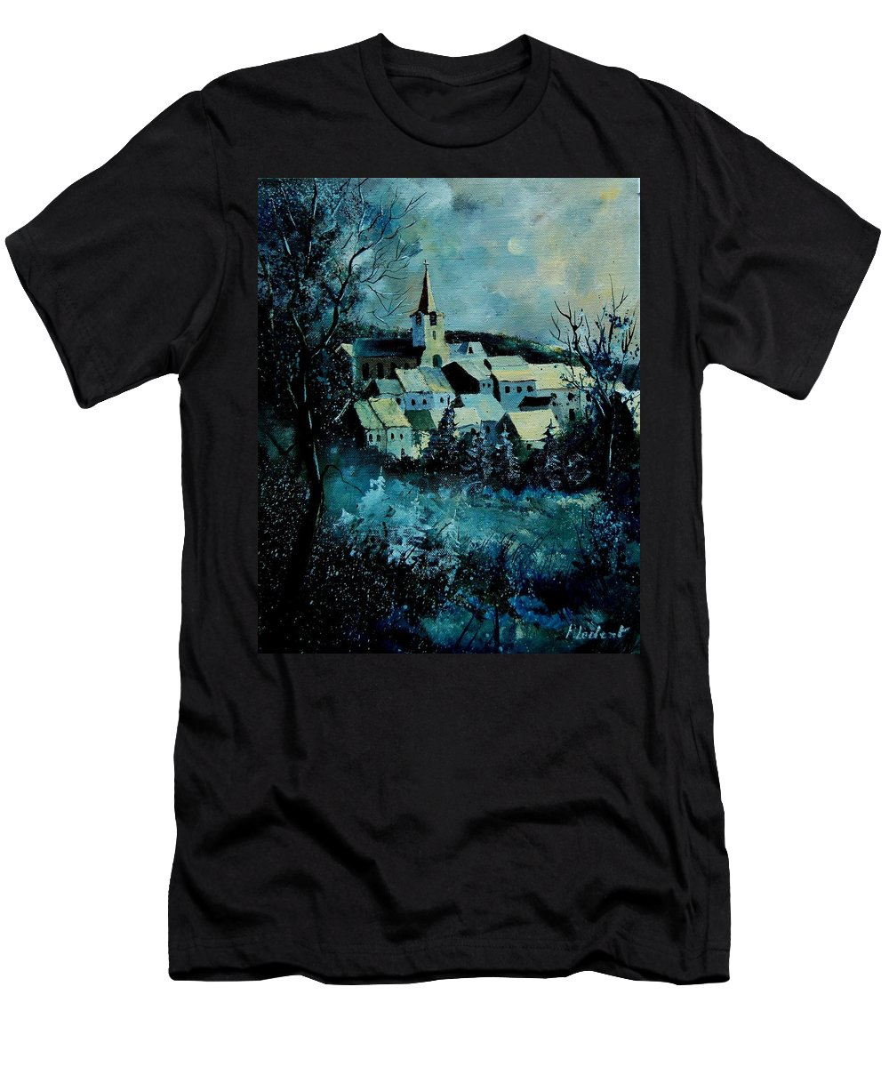 River Men's T-Shirt (Athletic Fit) featuring the painting Village In Winter by Pol Ledent