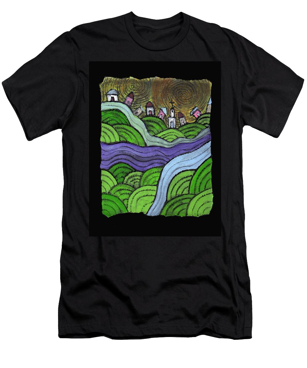 Village Men's T-Shirt (Athletic Fit) featuring the painting Village On The Hill by Wayne Potrafka