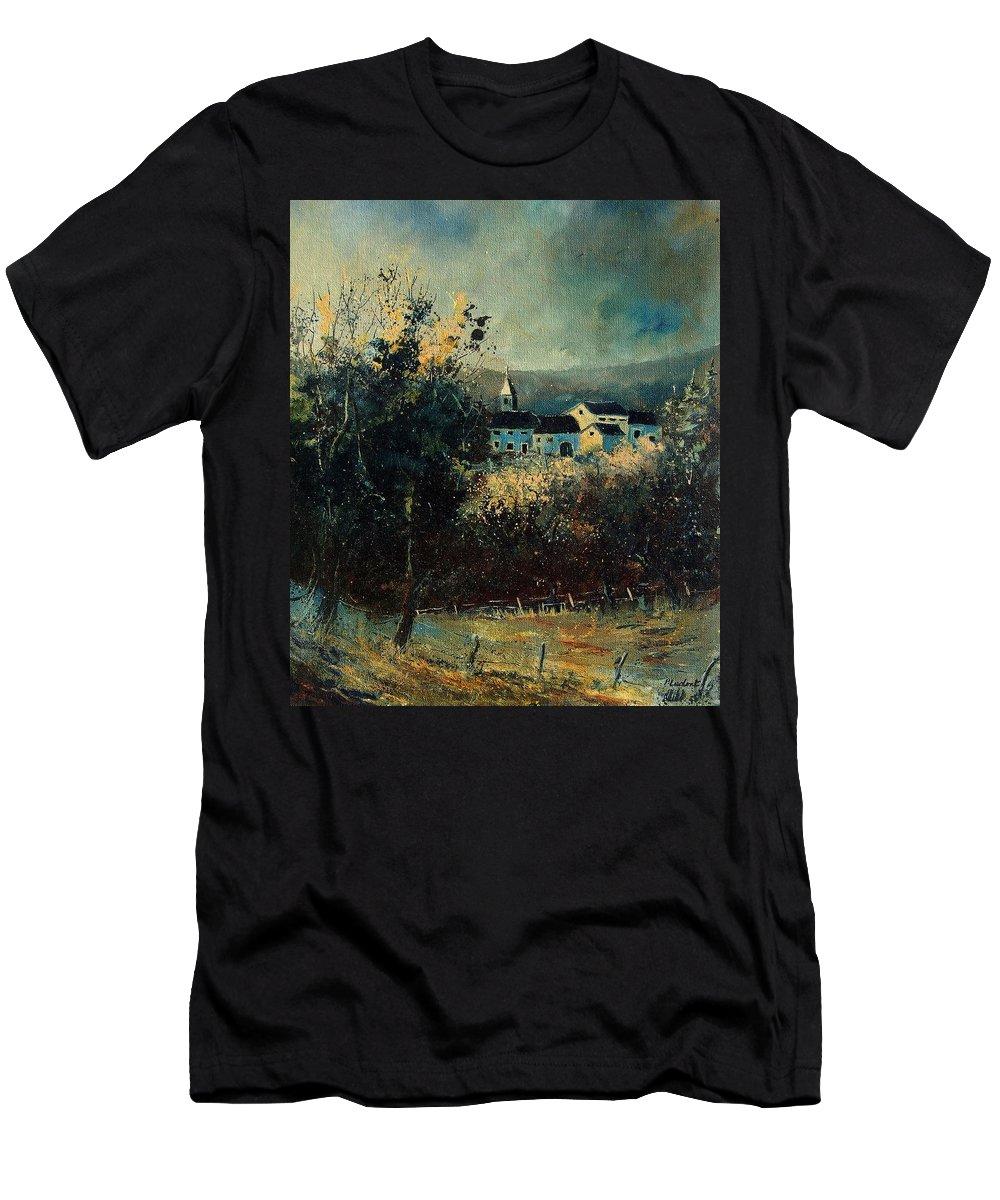 Landscape Men's T-Shirt (Athletic Fit) featuring the painting Village by Pol Ledent
