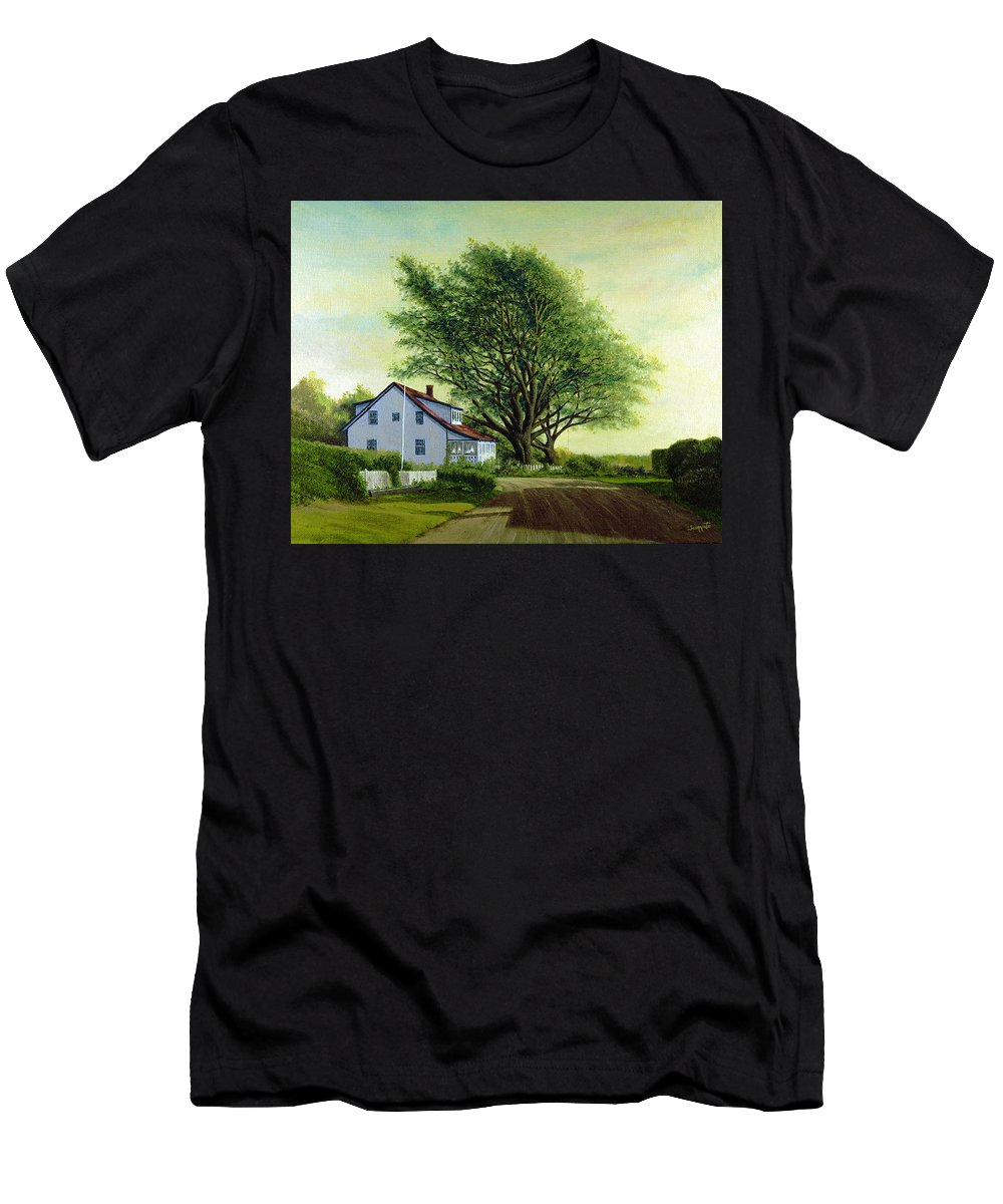 Men's T-Shirt (Athletic Fit) featuring the painting Village Road Orient 16x20 by Tony Scarmato