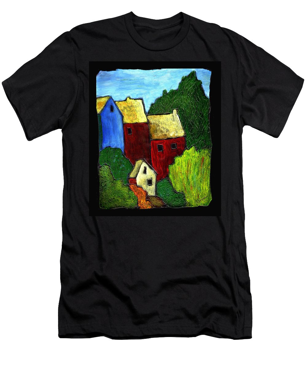 Village Men's T-Shirt (Athletic Fit) featuring the painting Village Scene by Wayne Potrafka
