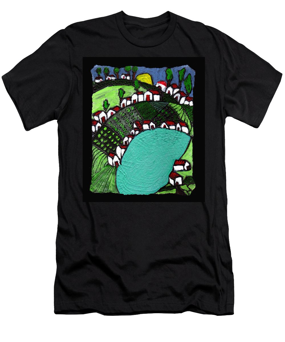 Village Men's T-Shirt (Athletic Fit) featuring the painting Villlage By The Pond by Wayne Potrafka