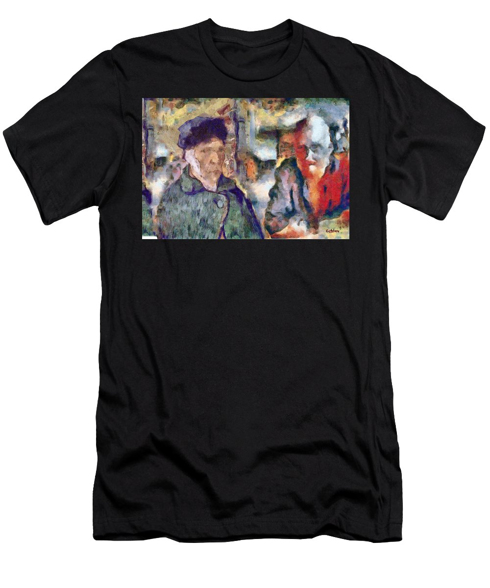 Vincent Van Gogh Men's T-Shirt (Athletic Fit) featuring the photograph Vincent And Lalo-take 1 by PhotoArt By Gretchen
