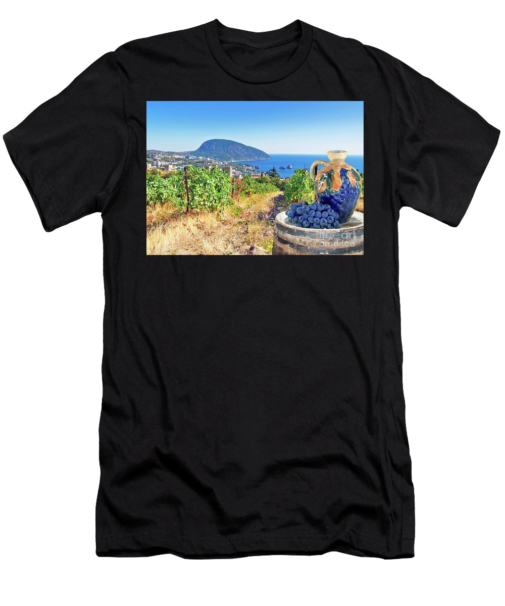 Sea Men's T-Shirt (Athletic Fit) featuring the photograph Vineyard And Sea by Nataly Raikhel