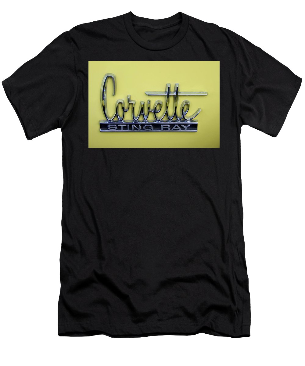 Corvette Men's T-Shirt (Athletic Fit) featuring the photograph Vintage Corvette Sting Ray Emblem by Mary Deal